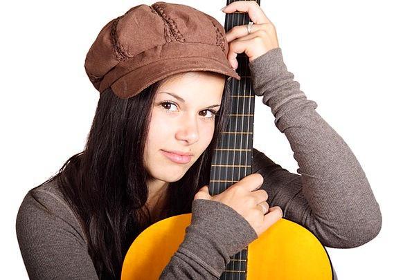 Acoustic Guitar Attractive Female Feminine Cute Wo