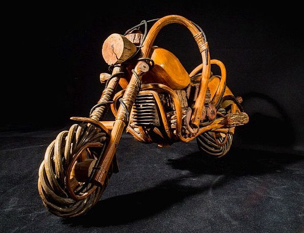 Wooden Motorcycle Art From Thailand Wood Model