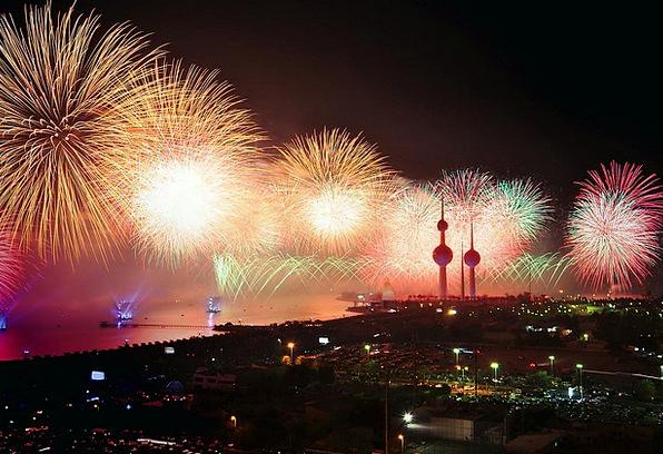 Kuwait Rockets Display Show Fireworks Party Lights