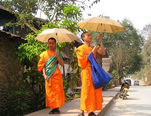 Monks Friars Orange Carroty Buddhists Parasol Suns