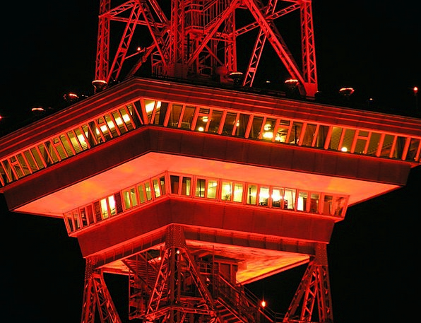 Radio Tower Night Nightly Berlin Red Bloodshot Ill