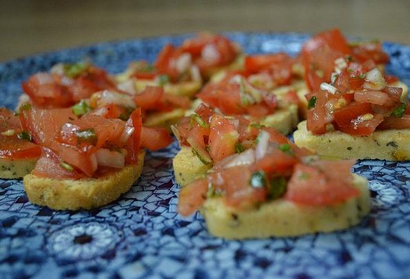 Tomato Drink Food Basil Herb Bruschetta Still Life