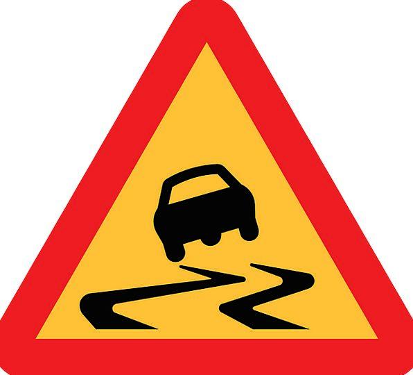 Warning Road Sign Caution Road Sign Roadsign Slipp