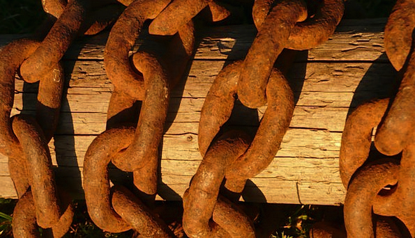 Chain Cable Rust Corrosion Wood Steel Strengthen A