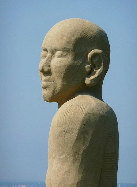 Sand Sculpture Gentleman Face Expression Man Lake