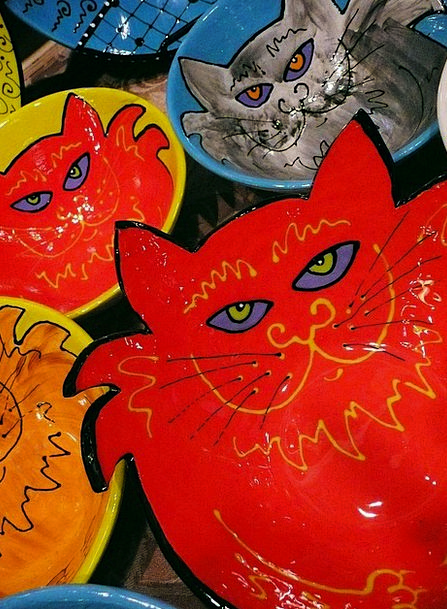 Cats Felines Earthenware Plates Ceramic Artwork Cr