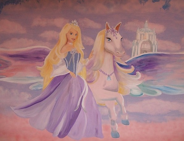 Barbie Pegasus Fresco Wall Decoration Wall Paintin