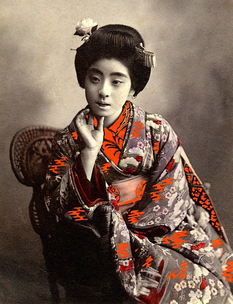 Geisha Period Vintage Out-of-date Retro Japanese A