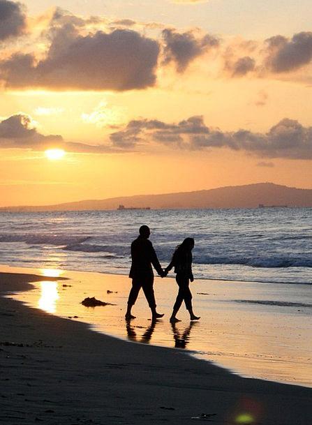 Sunset Sundown Vacation Twosome Travel Stroll Ambl