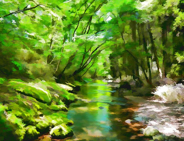 Japan Stream Aso River Natural Usual Water Green A