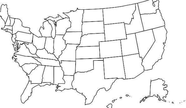 Usa Chart United Joint Map Borders States Conditio