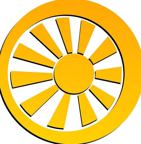 Wheel Helm Rod Sun Spoke Symbol Sign Yellow Sketch