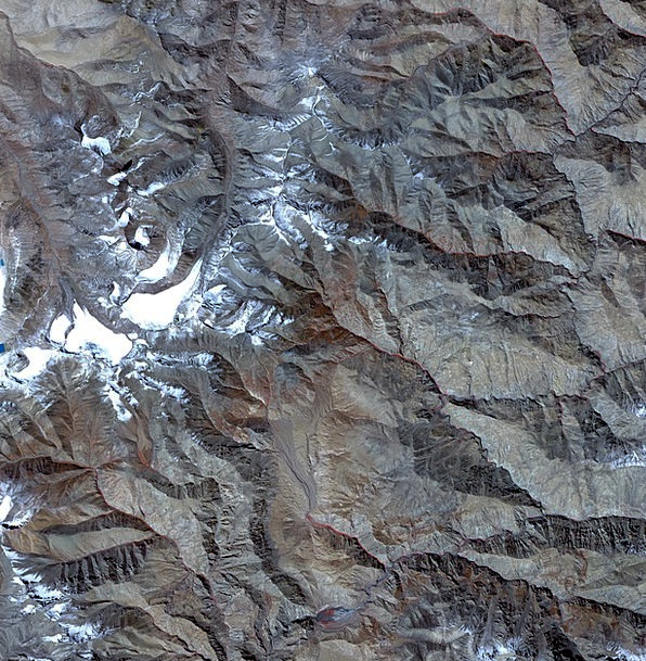 Aerial View Tibet Satellite Photo Map Chart Snow A