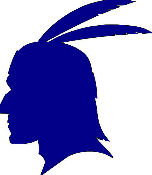 Indian Skull Silhouette Outline Head Feathers Down