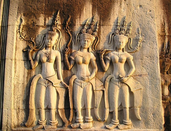 Angkor Cambodia Wat Temple Shrine So Figures Mural