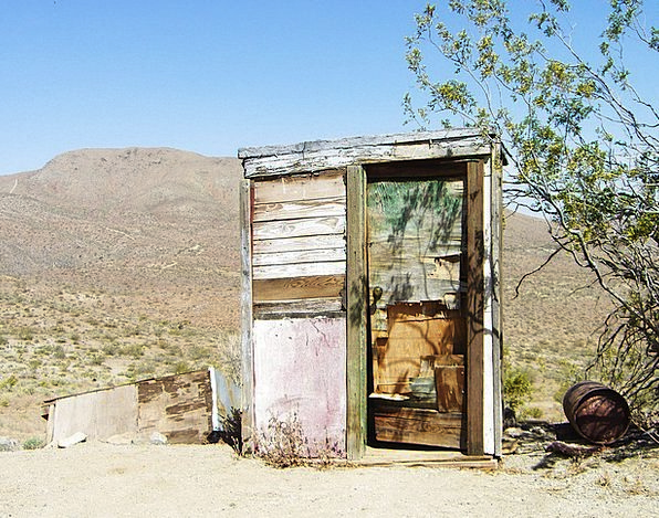 Mojave Desert Latrine Dilapidated Decrepit Outhous