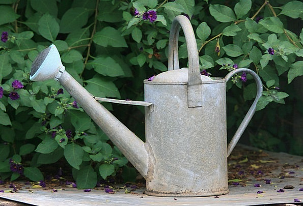 Can Container Metallic Grey Old Metal Watering Soa