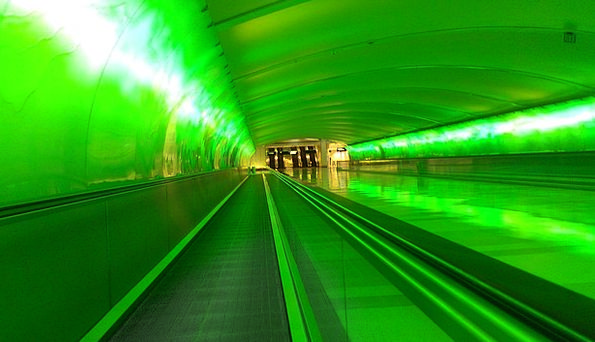 Green Lime Channel Airport Airfield Tunnel Pathway