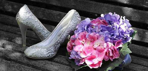 Bride Wife Bouquet Bunch Shoes Wedding Pink Flushe