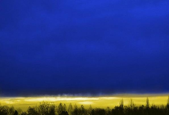 Sky Blue Landscapes Vapors Nature Gold Gilded Clou