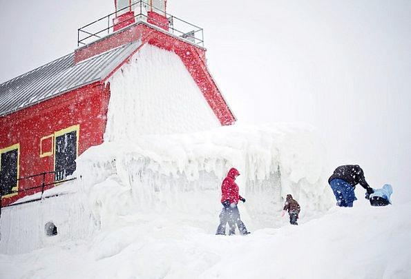 Lighthouse Bloodshot Michigan Red Kids People Publ