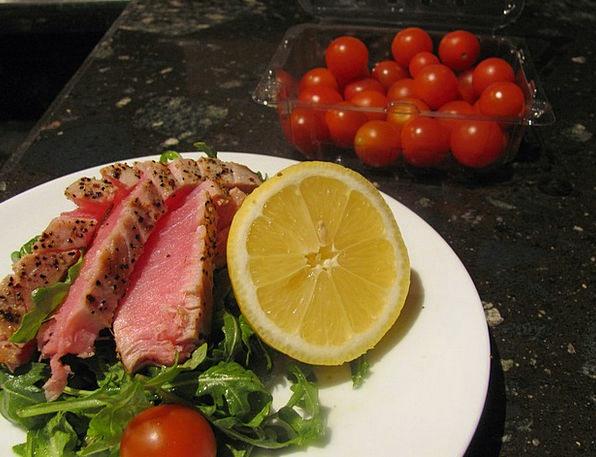 Ahi Tuna Tomato Tuna Ahi Fish Dinner Angle Seafood