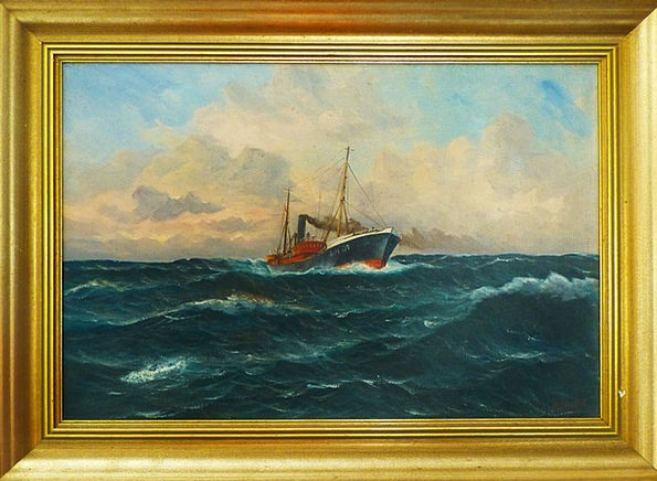 Oil Painting Copy Frame Edge Image Fishing Vessel