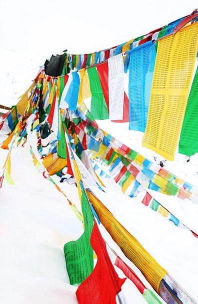 Prayer Flags In Shergyla Mountain Pass Tibet Color