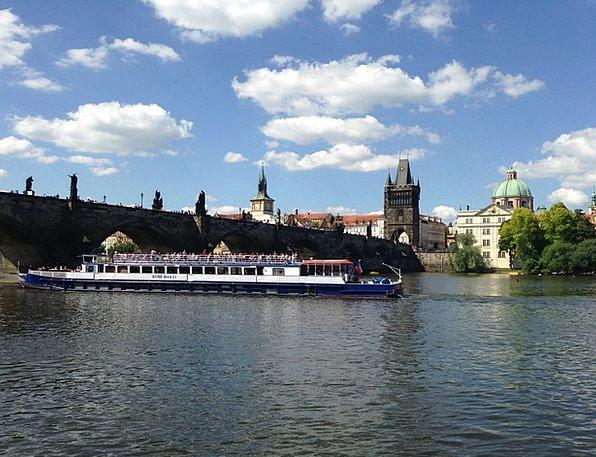 Steamer Vltava Prague River Stream Charles Bridge