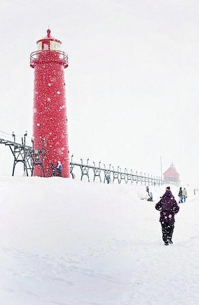 Lighthouse Bloodshot Michigan Red People Public Co