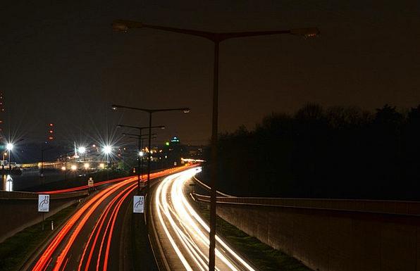 Night Nightly Traffic Transportation Highway Thoro