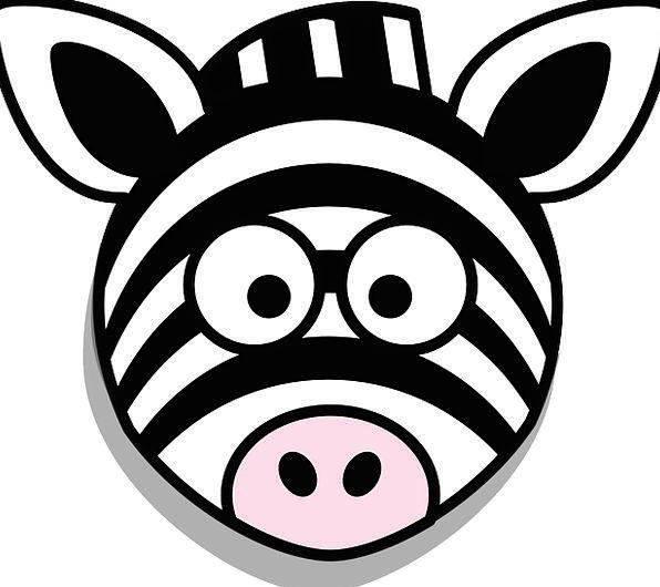 Zebra Skull Stupid Unwise Head Cartoon Animation W