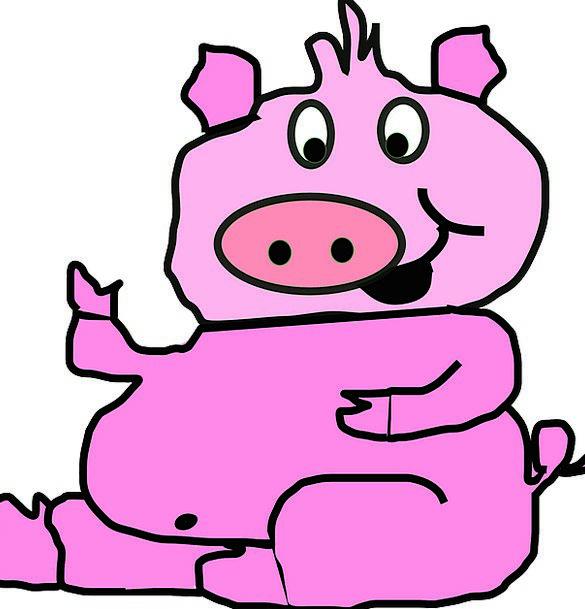 Pig Glutton Smiling Pink Flushed Smiley Piglet Cut