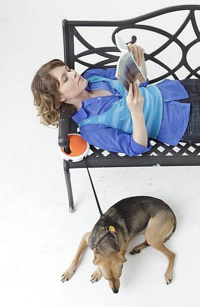 Dog Leash Canine Woman Lady Dog Reading Magazine H