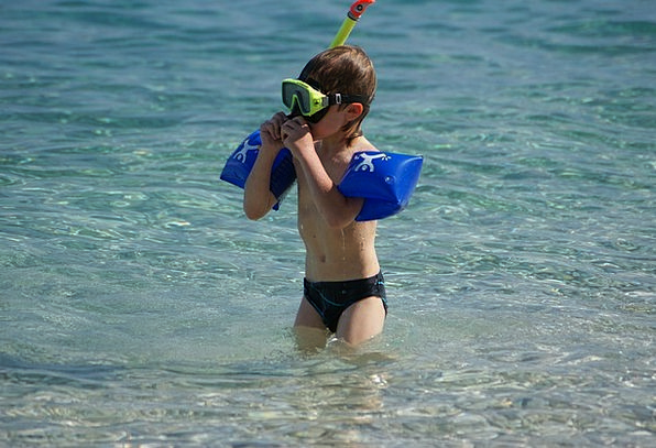 Child Youngster Straw-hat Diver Swimmer Summer Wat