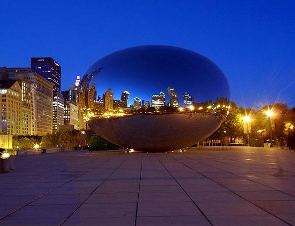 Chicago Night Nightly Bean Skyline Horizon Night I