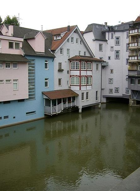Small Venice Row Of Houses Neckar Canal Esslingen
