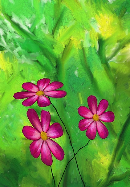 Digital Painting Landscapes Flowery Nature Plant V