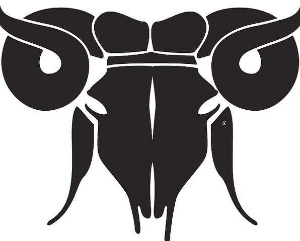 Ram Butt Skull Horoscope Head Livestock Sign Symbol Horn