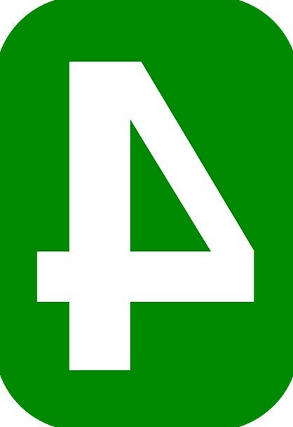 Four Amount 4 Number Rounded Round Rectangle Green