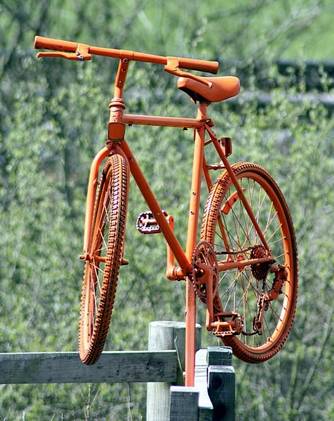 Bike Motorbike Orange Carroty Bicycle Fence-Post W