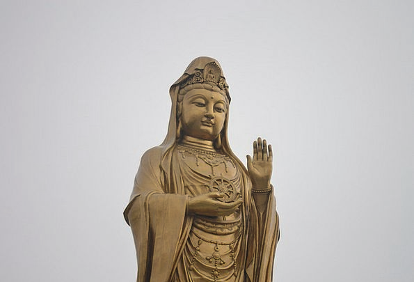 Buddha Porcelain Guanyin China Gold Gilded Zen
