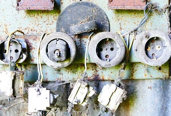 Sockets Holes Ancient Electricity Power Old Plug W