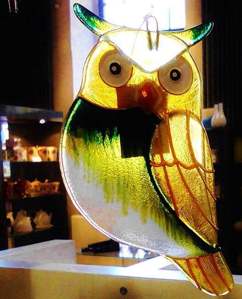 Glass Cut-glass Eagle Owl Windowing Hand Labor Art