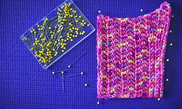 Hat Cap Obstructive Crochet Blocking Pinned Held P