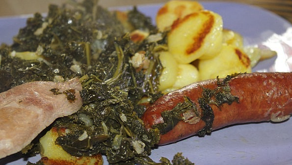 Kale Drink Food Fried Potatoes Smoked Pork Chops E