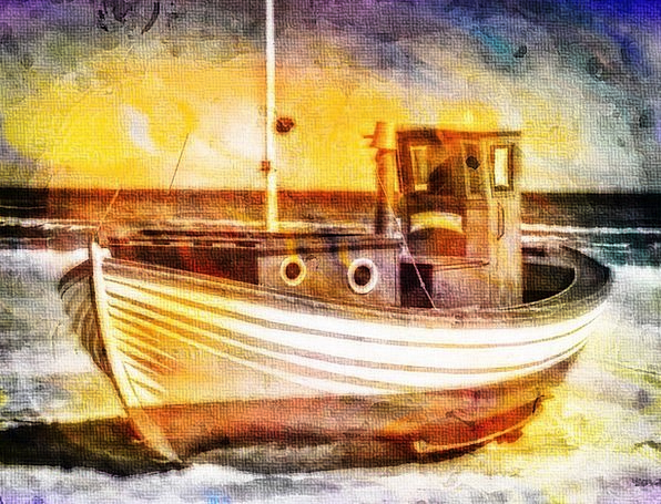 Fishing Boat Vacation Container Travel Digital Art