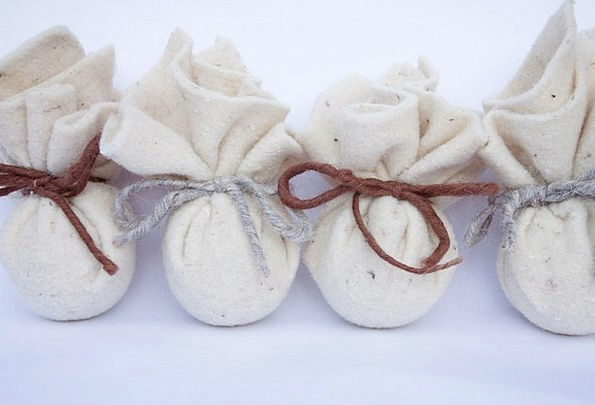 Bag Basket Touched Sheep'S Wool Felt Brown Sheep W