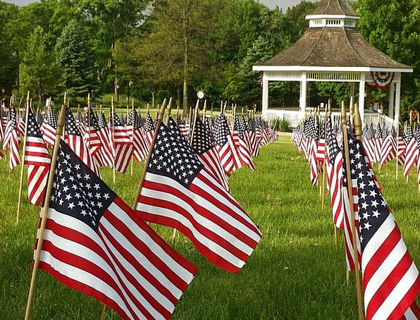 Flags Streamers Memorial Day American Patriotic Fr