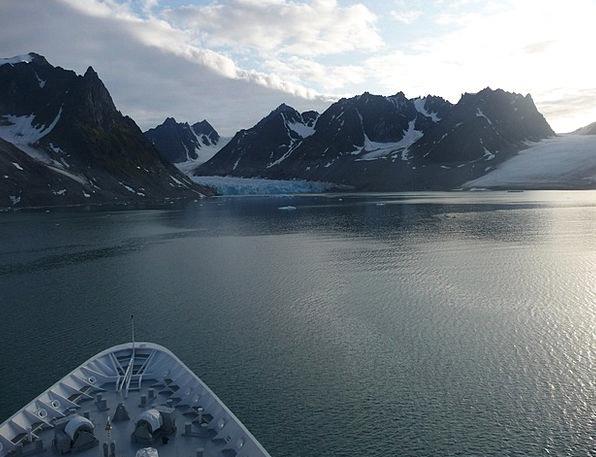 Glacier Vessel Svalbard Ship Scenery Set Winter Se